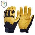 Nuevo trabajo de los hombres de piel de venado guantes de cuero del conductor de protección de seguridad desgaste racing moto guantes de seguridad que trabajan para los hombres 8003