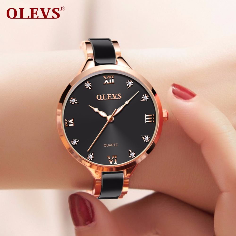 OLEVS Women watches relogio feminino womens ceramics watches bracelet Luxurious ladies watch with rhinestones Waterproof clock