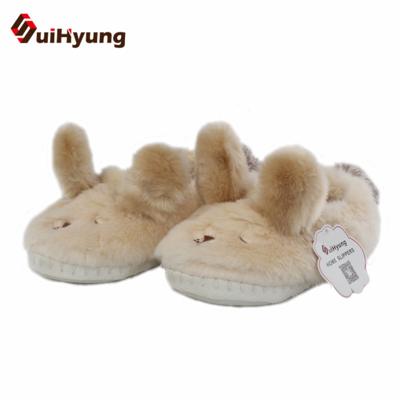 Suihyung New Winter Women Indoor Cotton Shoes Funny Animal Prints Plush Flats Bedroom Non-slip Tpr Home Flock Slippers Slip On suihyung new funny animal prints flock home slippers women winter warm indoor floor shoes flat cotton shoes short plush slip on