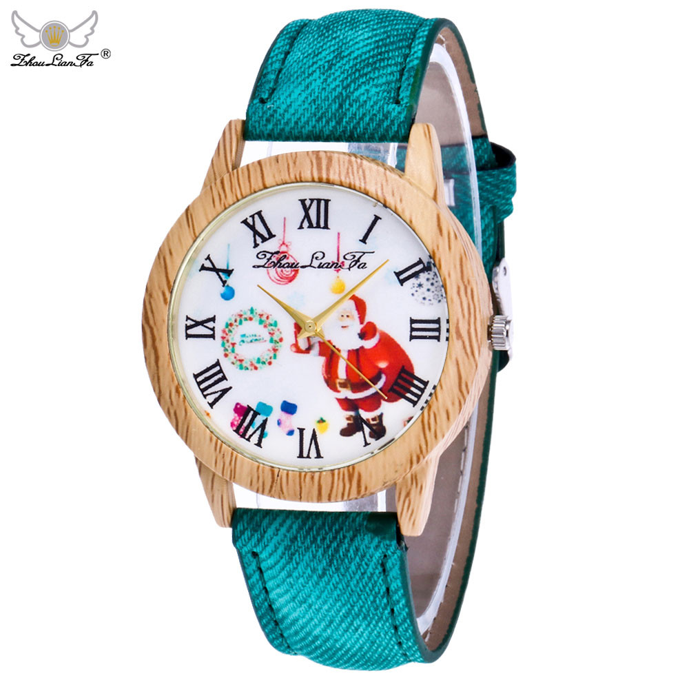 2017 Lovers' Christmas Elderly Pattern Wood Grain Denim Band Analog Quartz Vogue Watches Y7911**