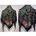 Free Shipping Black Women's Triangle Velvet silk Beaded Embroidery Shawl Scarf Peafowl  SW09-E