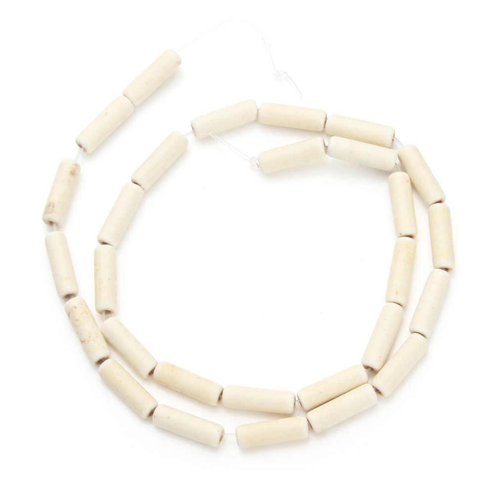 Kira-kira 29 Buah/Bungkus Diameter 0.4 Cm Longgar Benih Spacer Tabung Manik-manik Putih Dibuat Batu untuk Diseduh Sendiri Membuat Perhiasan Manik-manik F1309