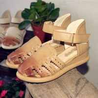 2015 New Summer Sandals With Hollow Girls Mori Women Shoes Vintage Carved Velcro Shoes Khaki White