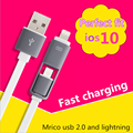 1M 2in1 8pin USB Data Charging Cable For iPhone 5s 7 6s 6 plus ios 9 10 for xiaomi Sumsung LG cell phone de carga charge cable