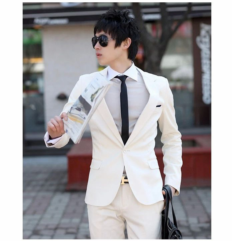 f67e366a59 2015 Fashion Designer Wedding suit Business Brand Mens White Suit (Jacket+ trousers) Solid Blazer Men Jacket and Pant GM052-in Suits from Men's  Clothing on ...
