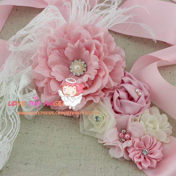 Mutter & Kinder Grau Rosa Blume Mädchen Sash Blet