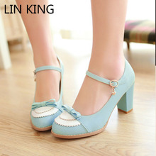 LIN KING Ladies Leather Platform Lady Fashion Lolita Shoes Sexy Bow High Heel Shoes Women Pumps Women's Wedding Shoes size 34-43