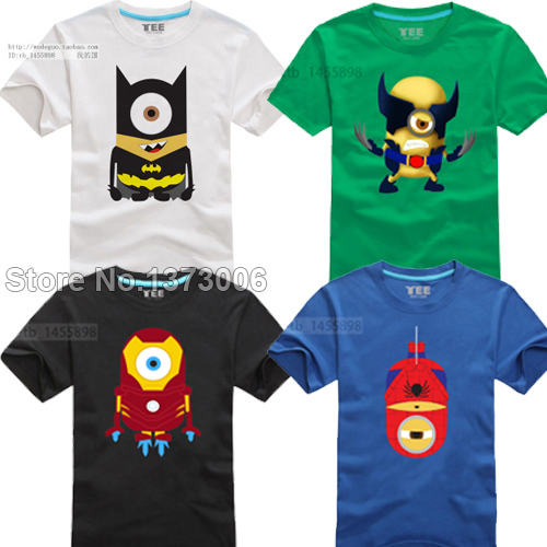 Minions Super Hero T-Shirt Cartoon Comic Superman Batman Captain America Spiderman Hulk Thor Movie T Shirts Tshirt Geek Tee