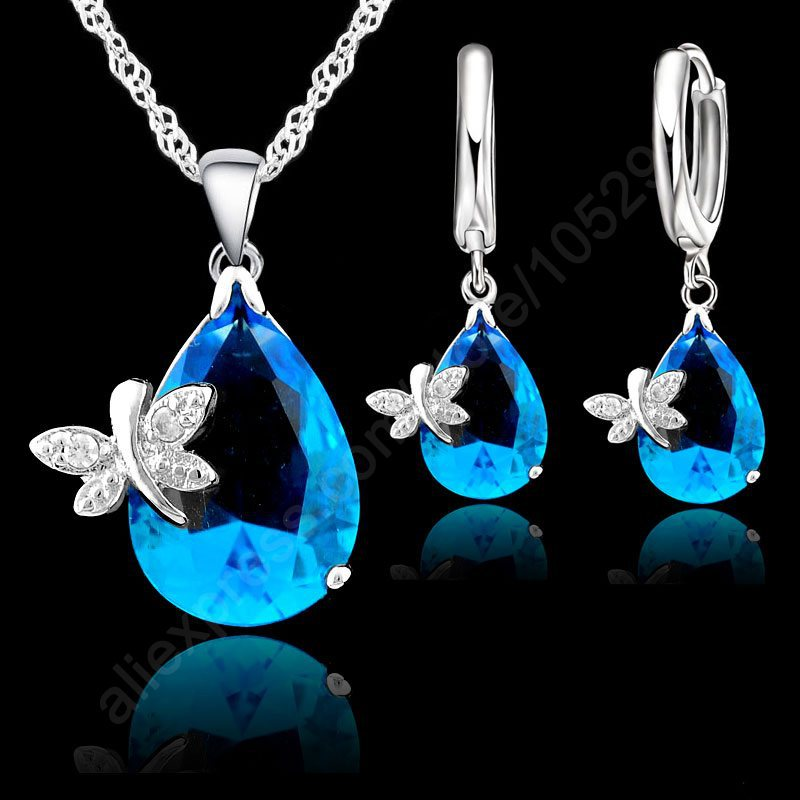 PATICO Jewelry Sets Real Pure 925 Sterling Silver Austrian Crystal Butterfly Drop CZ Pendant Necklace LeverBack Hoop Earrings