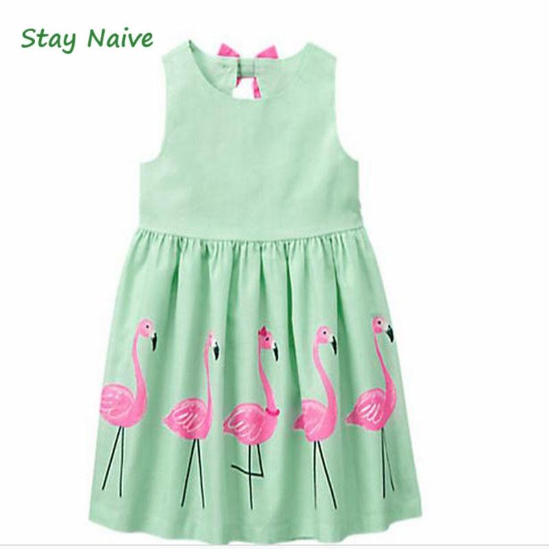 Stay Naive Girl Clothing Cartoon Print Bowknot Children's Clothing 2017 New Girls Dress Up Children girls cartoon print dress