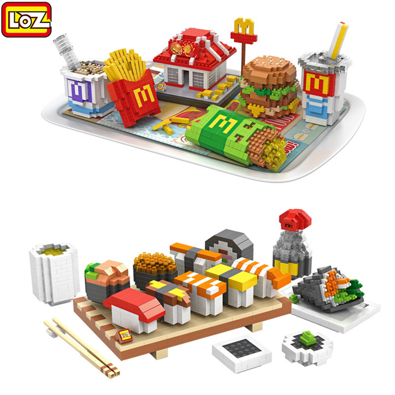 loz toys M's Hamburg Sets Blocks Sushi model building blocks sets lot Educational assembled plastic toy bricks kids toys gift loz gas station diy building bricks blocks toy educational kids gift toy brinquedos juguetes menino