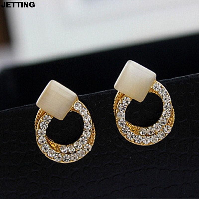 JETTING Crystal Rhinestone Stud Earrings Gold Double Ring Ear Studs Geometric Women Jewelry 1 Pair Elegant Korean Style