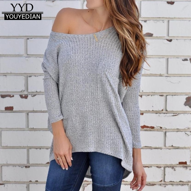 Womens Autumn Off Shoulder Long Sleeve T-shirts Loose Knitted Sweater  Jumper Pullover Tops Women Ropa Mujer  1016 03a29c78c