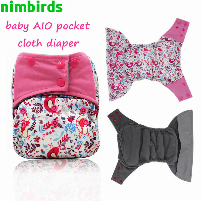 AIO Baby Cloth Diaper Bamboo Insert Nappy, 3-36 Months Babybrug, Engros AIO bleer Trækul Microfleece Genanvendelig Ble