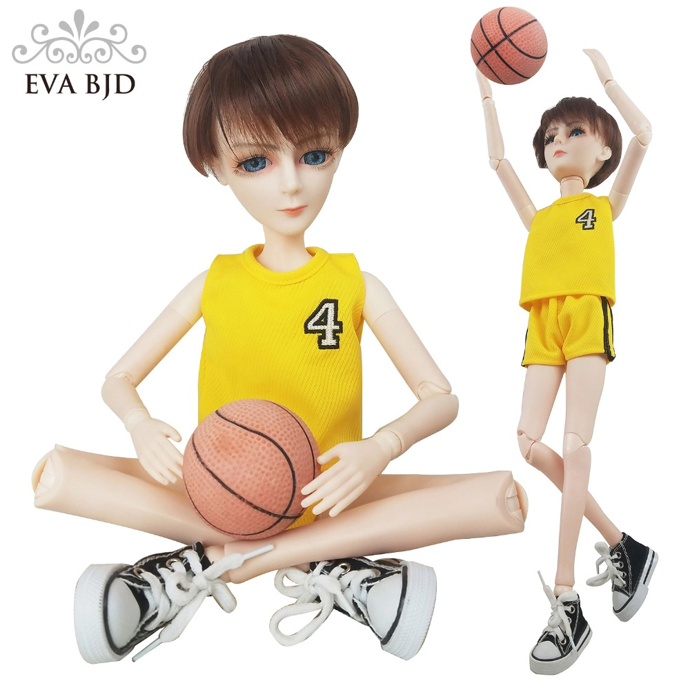 24 Full Set + 1/3 EVA BJD Doll SD Doll Basketball Player Boy + Makeup + Wig Clothes Shoes Basketball Gift Set for Boy Children 24 full set bjd doll devil manager men chinese manager ball jointed dolls sd doll toy boyfriend boy gift for boy children
