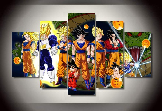 picture print cartoon dragon ball group painting wall art childrens room decor