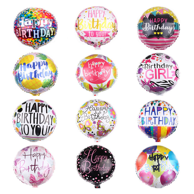 18 Inch Happy Birthday Foil Balloons Boy Girl Party Decor Crown Helium Baby Kid Supplies