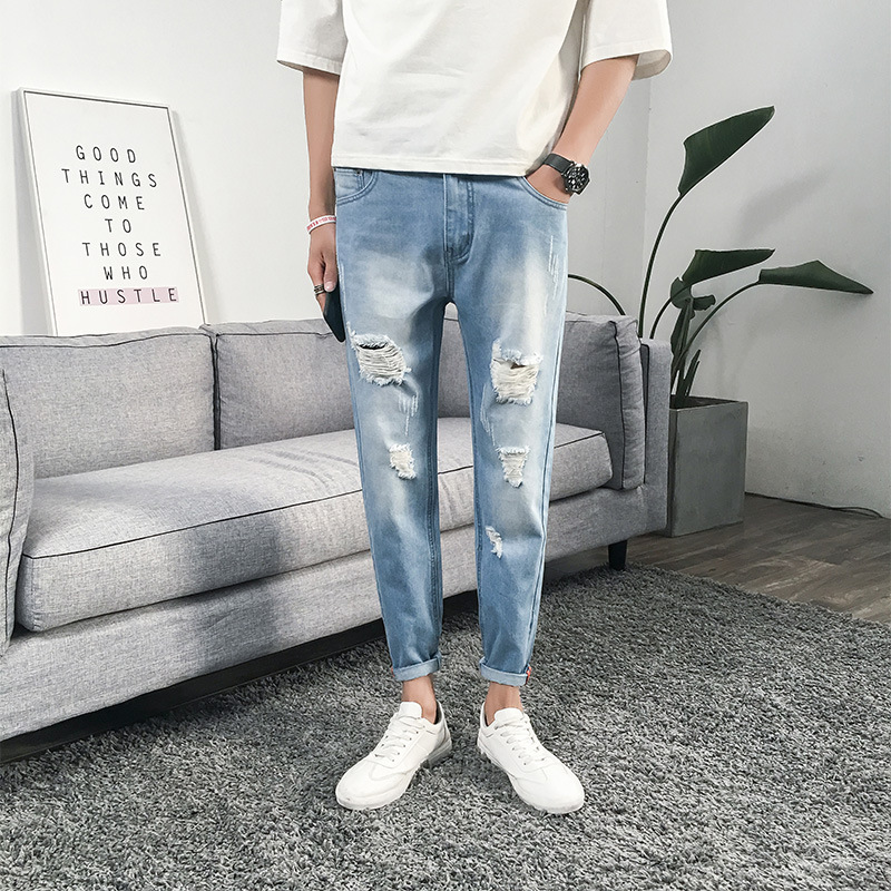 CHOLYL 2019 new men's hole   jeans   men's summer micro-elastic slim feet nine pants wholesale hip hop   jean