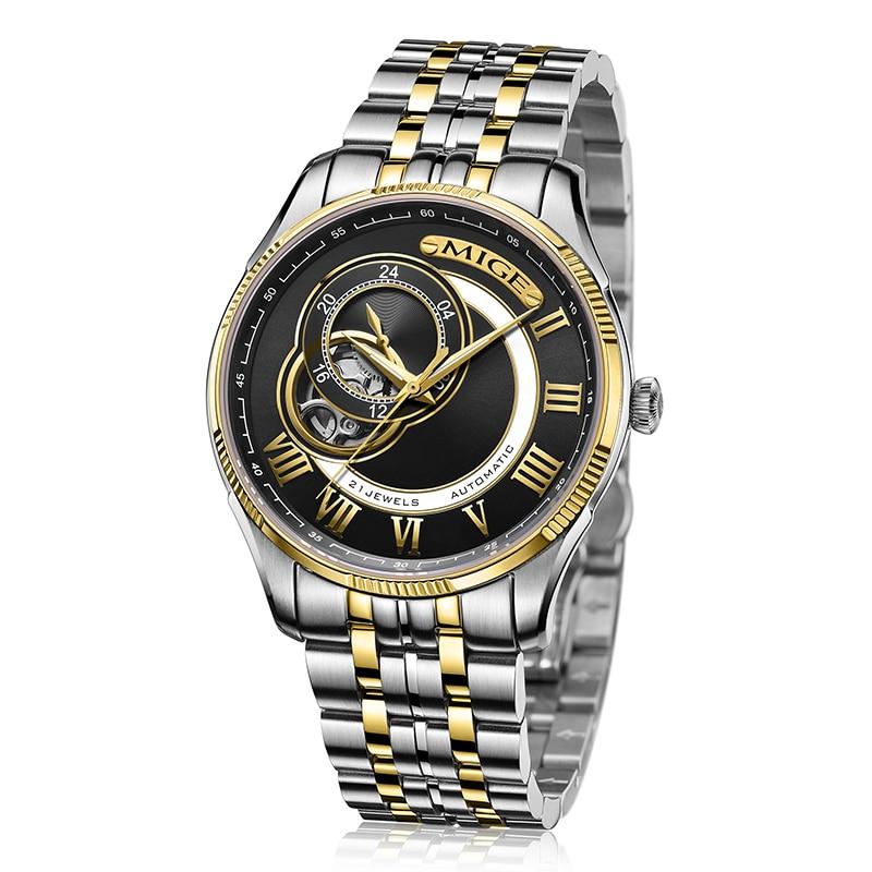 2017 Real New Sale Skeleton Mechanical Man font b Watch b font Black White Steel Watchband