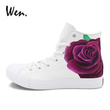 882f192c2175 Wen Original Design Floral Shoes White Canvas High Top Purple Rose Flower  Hand Painted Sneakers for Women Men Lace up Plimsolls-in Skateboarding from  Sports ...