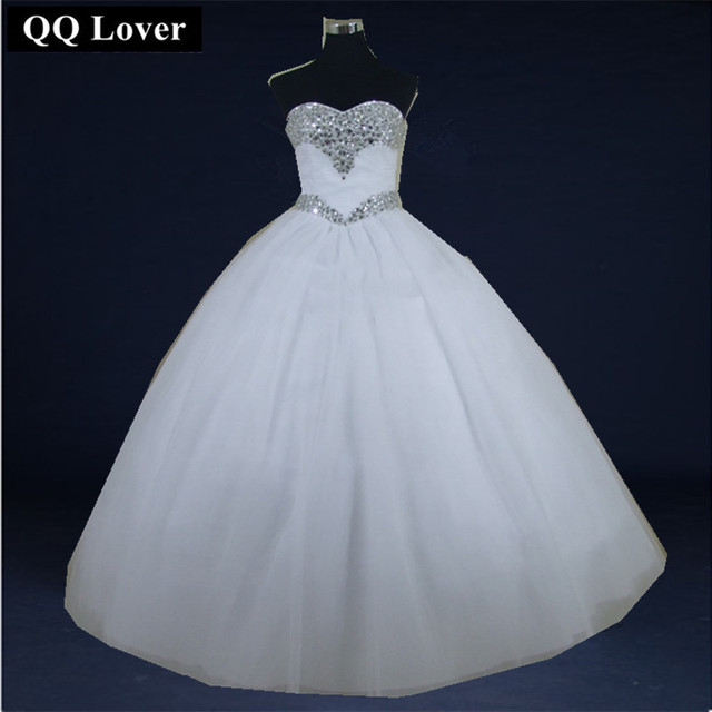 QQ Lover 2018 Luxury Crystal Tulle Ball Gown Wedding Dresses Sparkly ...