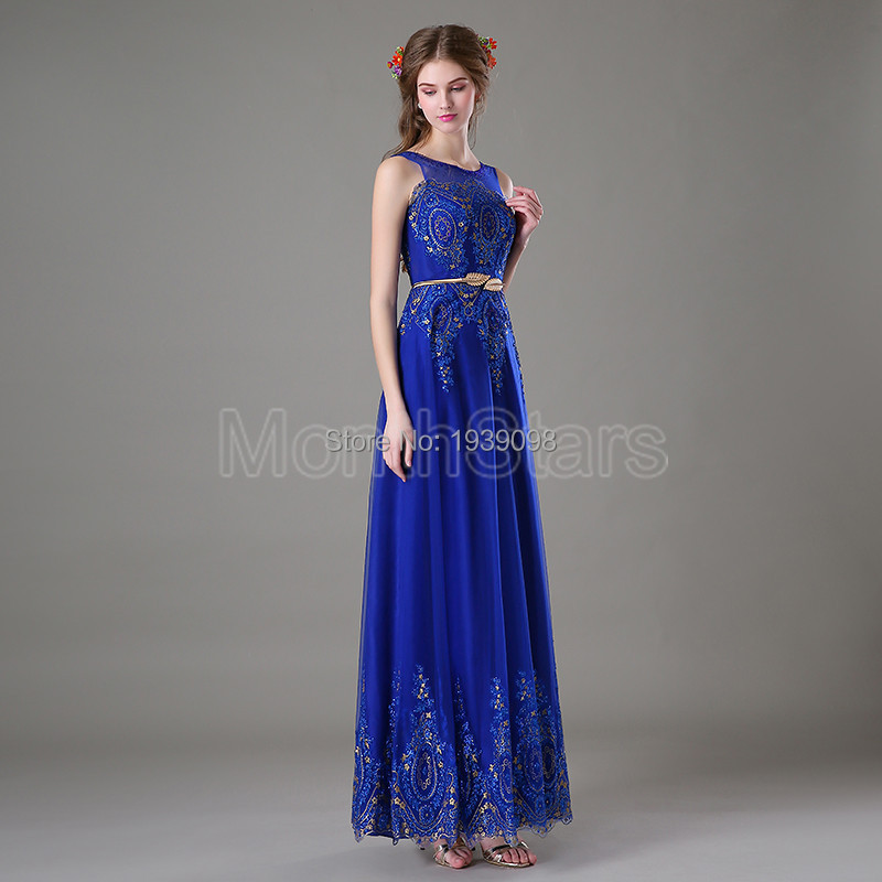 Elegant Lace Royal Blue Prom Dresses For Juniors Formal Evening Gown