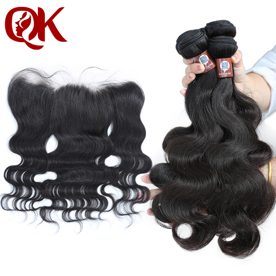 QueenKing Human Hair Bundles With Closure Remy Brazilian Body Wave 3Bundles and Lace Frontal 13x4 Pre