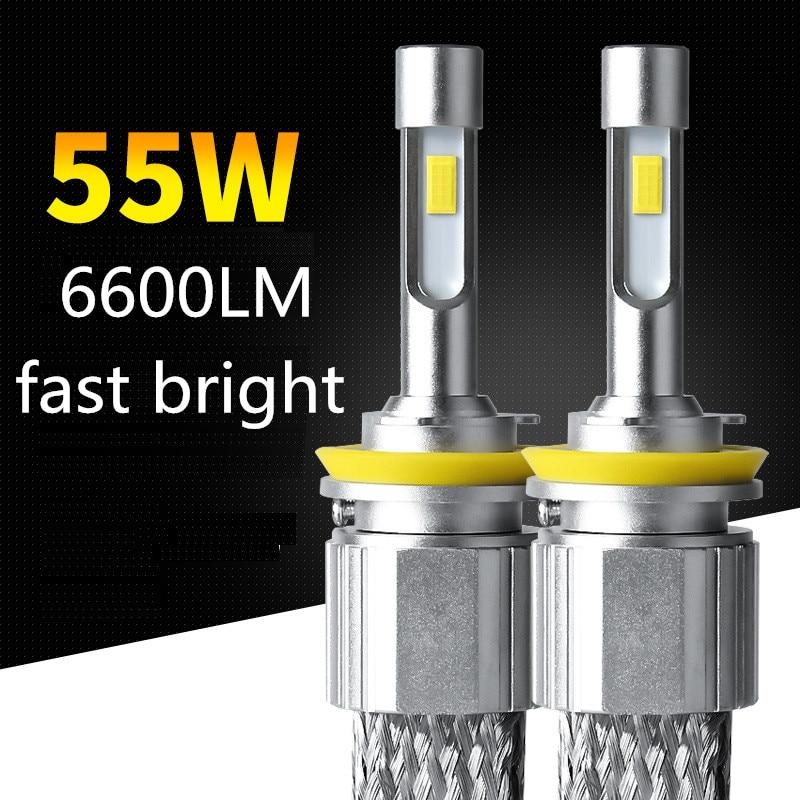 Dianshi 55W 6600LM super bright car H7 H11 H4 9005 LED HEADLIGHT  hb3 hb4 9006  h1  car led light 5500k