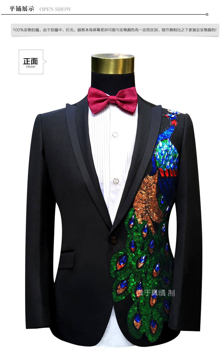Freeship 100 real font b mens b font black rhinestone beading peacock tuxedo suit event studio