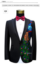 Freeship 100%real mens black rhinestone beading peacock tuxedo suit /event/studio/sing/stage performance/jacket with pants