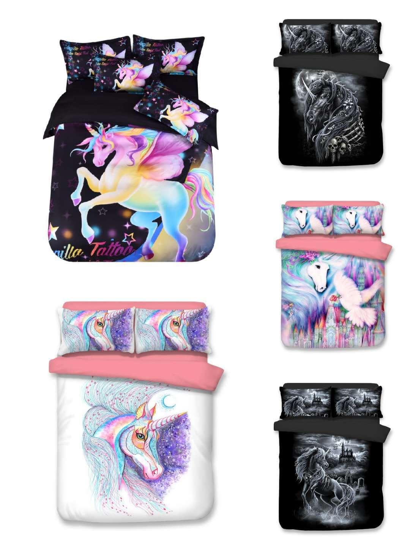 Unicorn Bedroom Set: Unicorn Bedding Set Star Cartoon Duvet Cover Pillow Case
