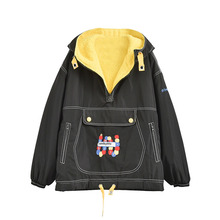 C5-Japanese winter lambskin thickening warm cotton coat large pocket coat hooded black color embroidery thickened hooded sweater