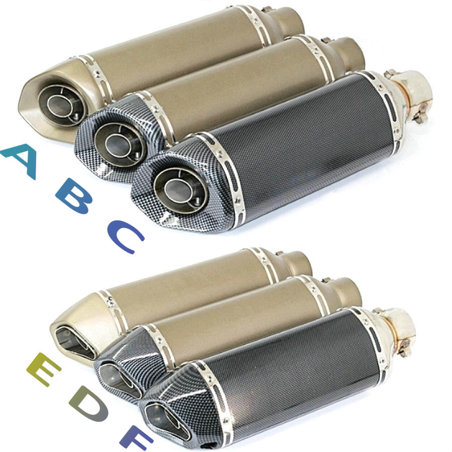 ФОТО 51mm Universal Slip-On Muffler Short Hexagonal Carbon Fiber Titnaium Motorcycle Exhaust Muffler Pipe