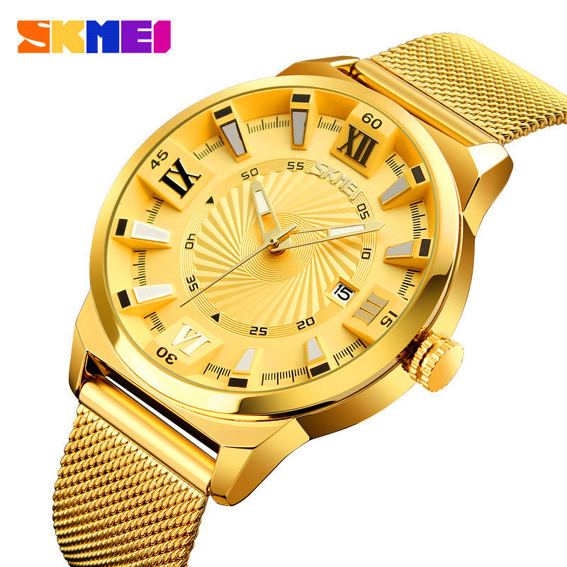 Men Quartz Watch SKMEI Luxury Sport Watches Business Gold Steel Watch Waterproof Wrist Male Military Clock Relogio Masculino ccq brand fashion men leather quartz watches casual business sport male clock waterproof military wrist watch relogio masculino