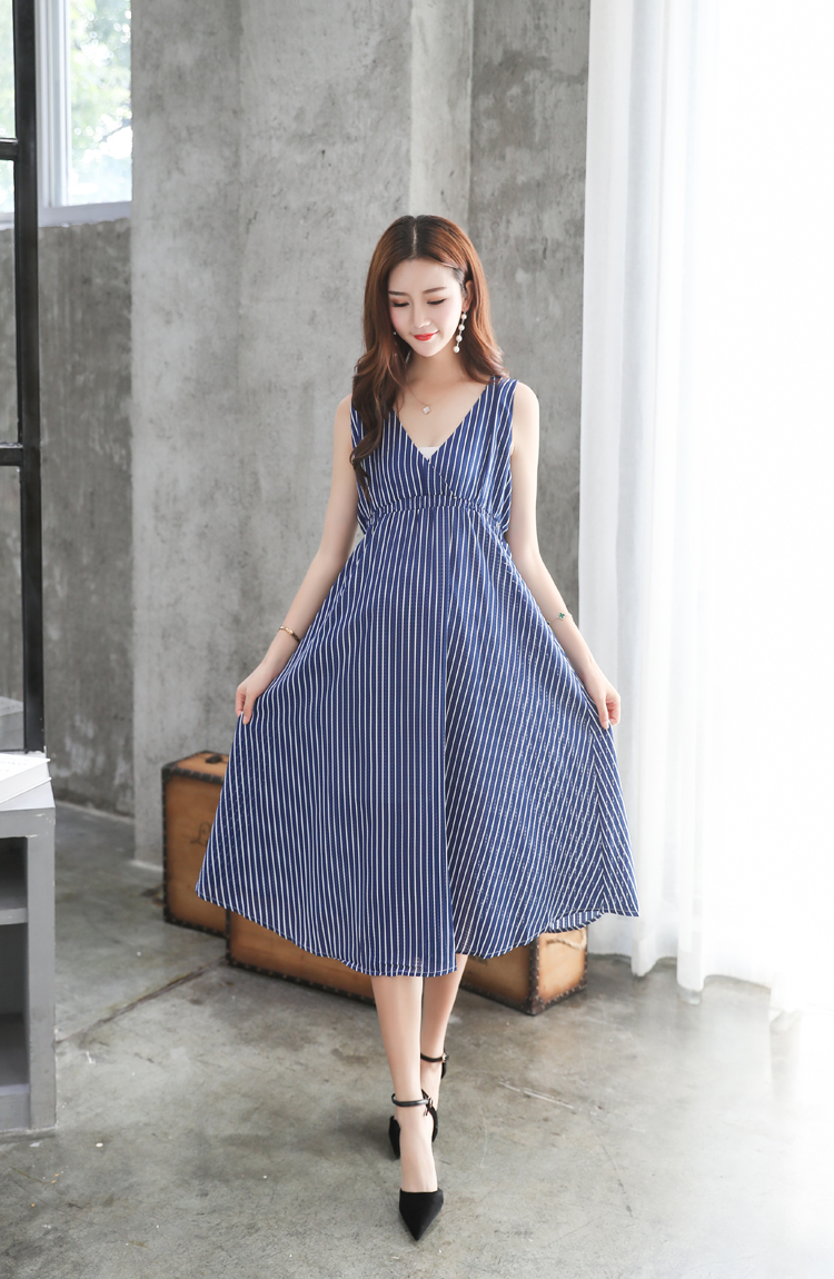 878482df4011d Summer Women Maternity Dresses for Pregnant Women Loose Clothing Maternity  Fashion Stripe Home Mother Clothes Dress YL171