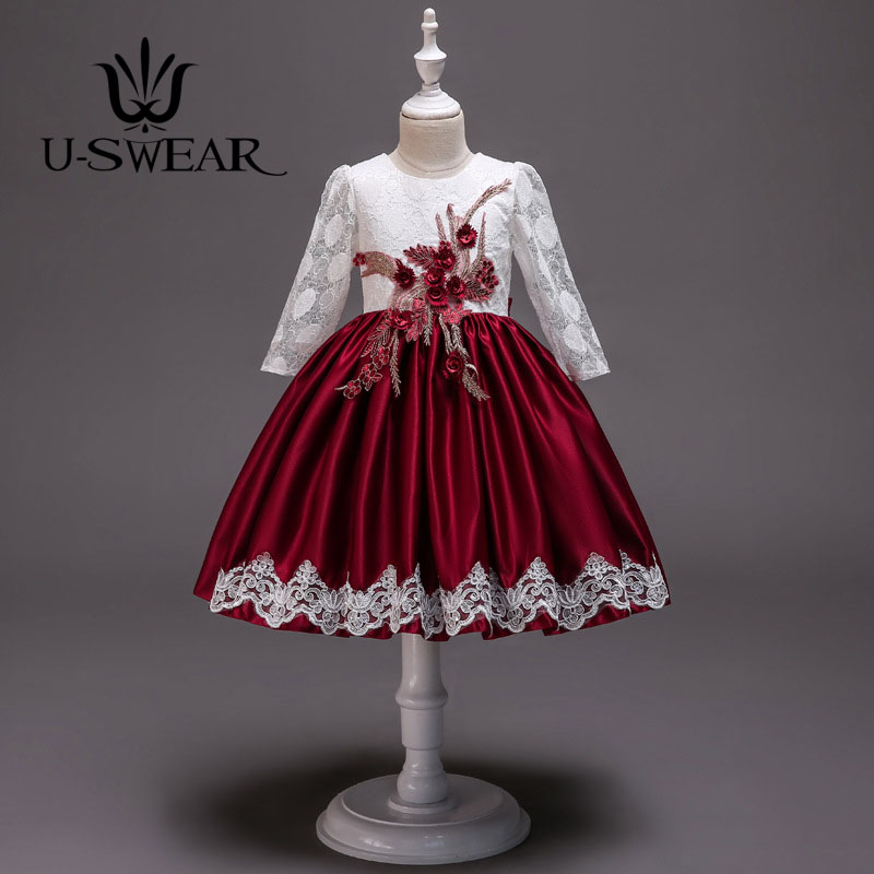 U-SWEAR 2019 New Arrival Kid   Flower     Girl     Dresses   O-neck Full Sleeve Lace Flora Appliqued Ball Gown Taffeta   Girl     Dress   Vestidos