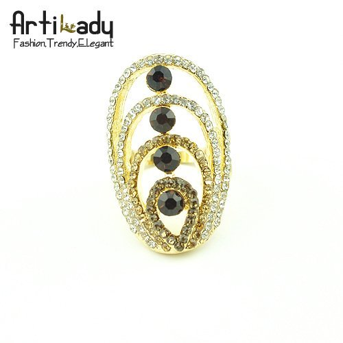 holiday sale Artilady  fashion high quality engagement ring crystal gold wedding rings