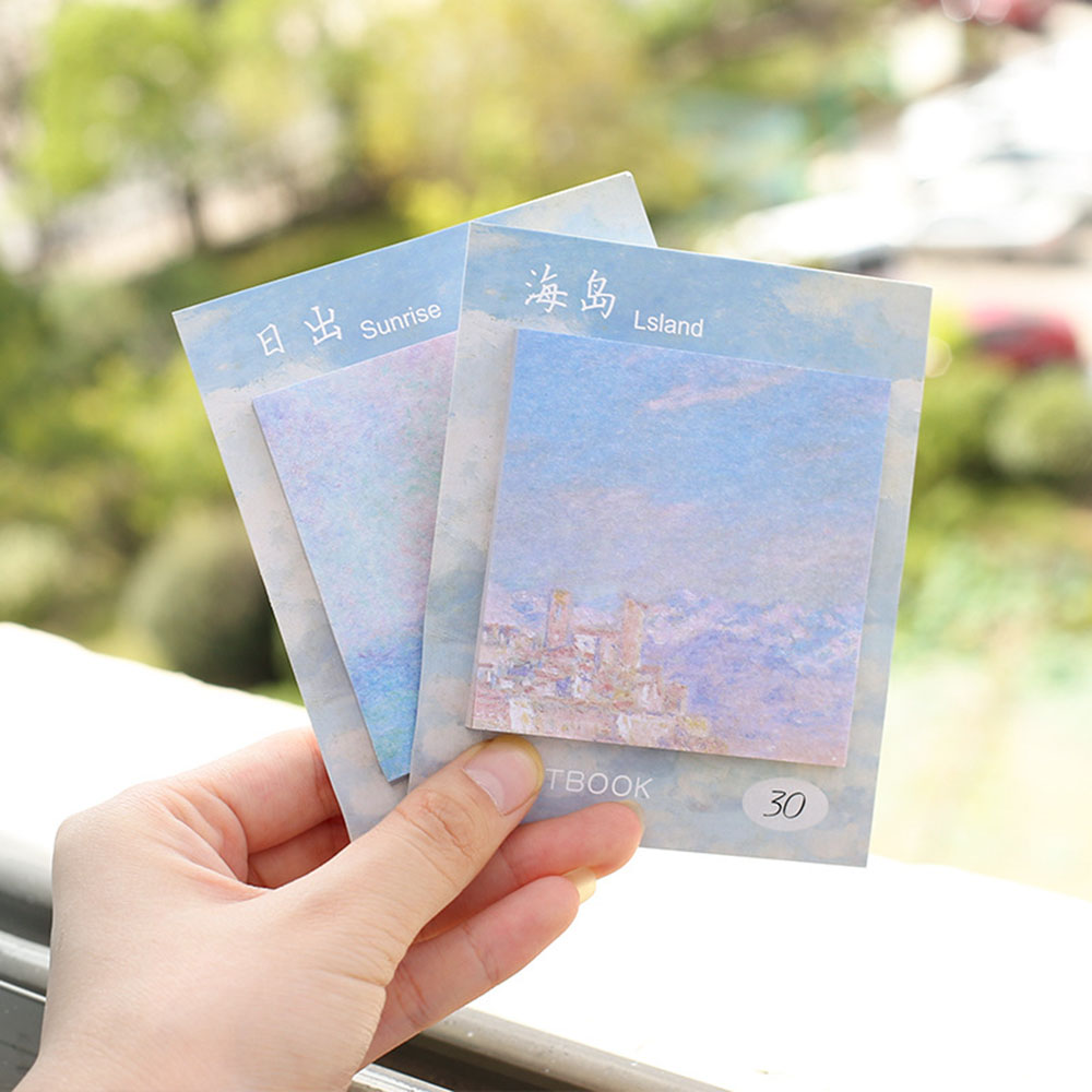 4Pcs/lot Painting Memo Pads and Sticky Notes The Seaside Post Guestbook Stickers Stationery Office School Supplies