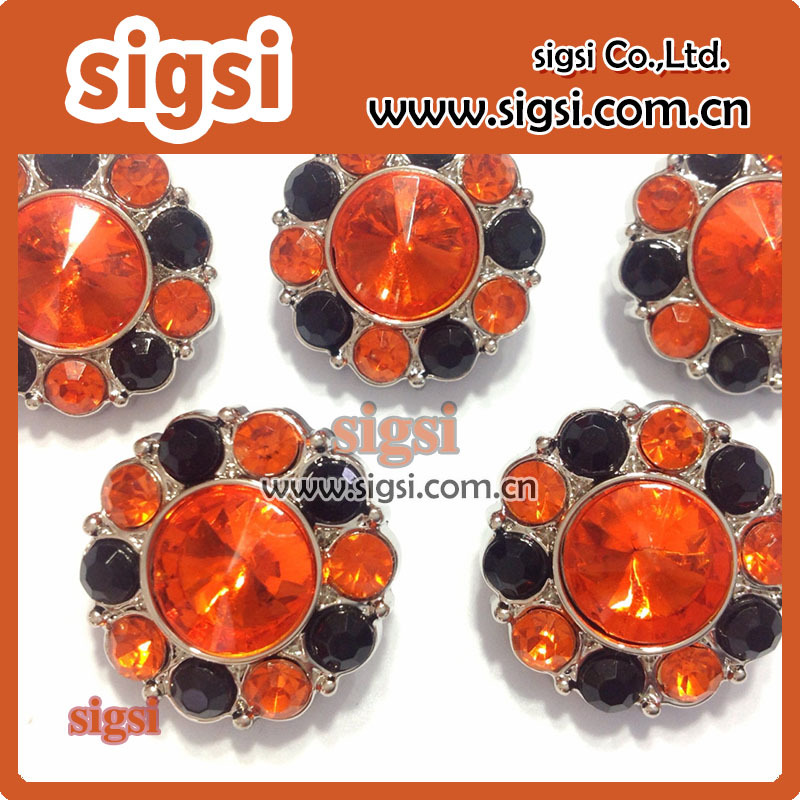 orange and black crystal acrylic rhinestone button for clothing