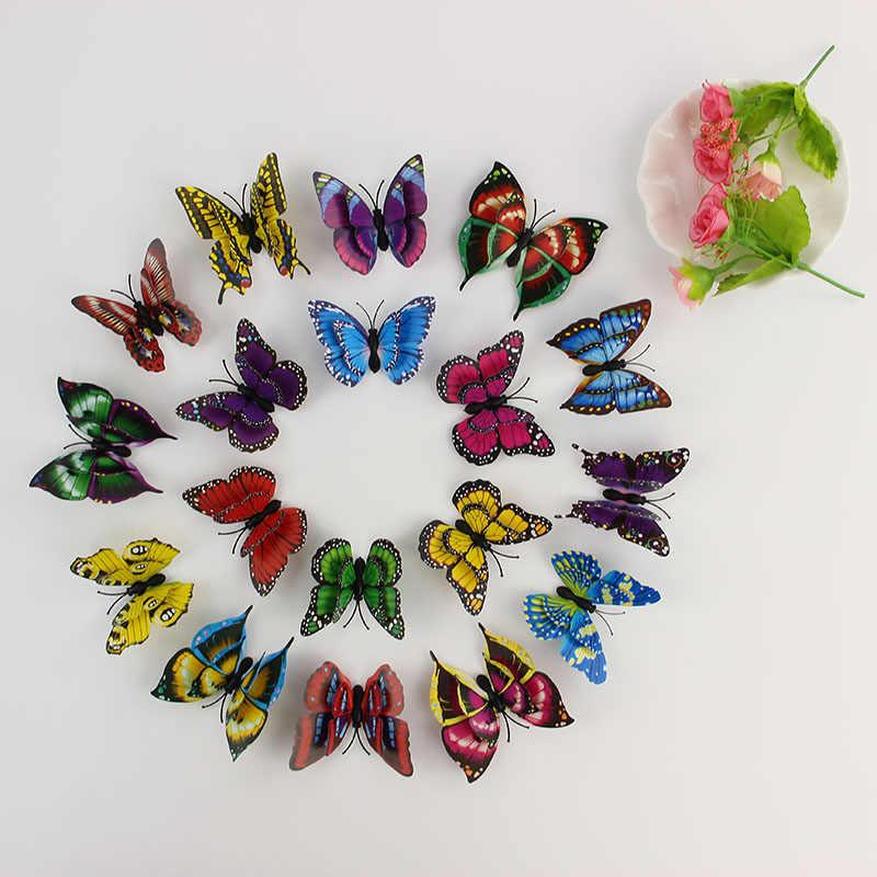 Kravat LER sıcak 12 adet 3D duvar çıkartmaları kelebek buzdolabı mıknatısı düğün dekorasyon ev dekor