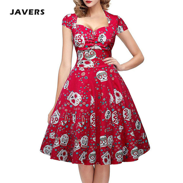 JAVERS] 4XL Plus Size Skull Print Gothic 50s Vintage Rockabilly ...