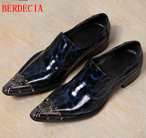 Choudory Mens Pointed Toe Dress Shoes Blue Black Loafers Men Sapato Masculino Patent Leather Shoes For Men choudory new winter men ankle italian shoes men leather shoes pointed toe mens black dress shoes sequined toe spiked loafers men