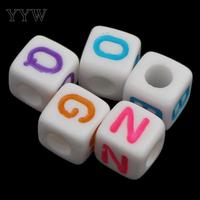 Alphabet Acrylic Beads 2017 Charms Jewelry DIY Charms with letter pattern 8x8mm Hole:Approx 3mm Approx 1150PCs/Bag Sold By Bag