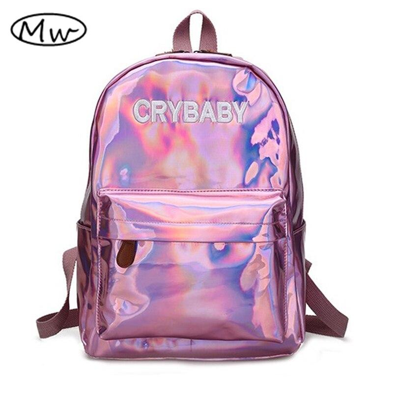 Madeira lua Harajuku Letras Bordados Chorão Holograma Laser Backpack Mulheres Soft PU Leather Backpack School Bolsas Para Meninas