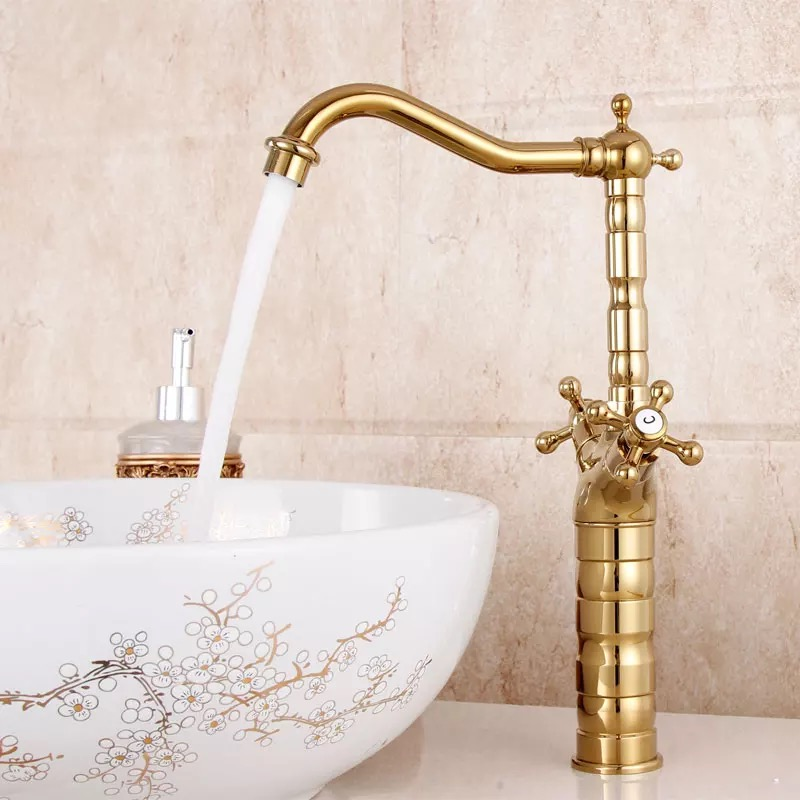 free shipping gold color basin faucet deck mounted bathroom mixer luxury brass tap double handle GZ-7307K free shipping luxury three piece bathroom faucet brass chromed basin tap wall mounted waterfall faucet lt 303