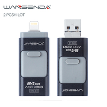 2pcs/1Lot Wansenda OTG USB Flash Drive USB3.0 Pen Drive 16GB 32GB original portable high speed Pendrive for iphone/Android/PC