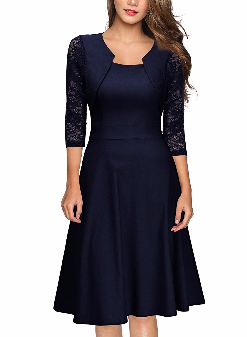 Elegant Designer Lace A Line Dress Women 2017 Knit Runway Green ...