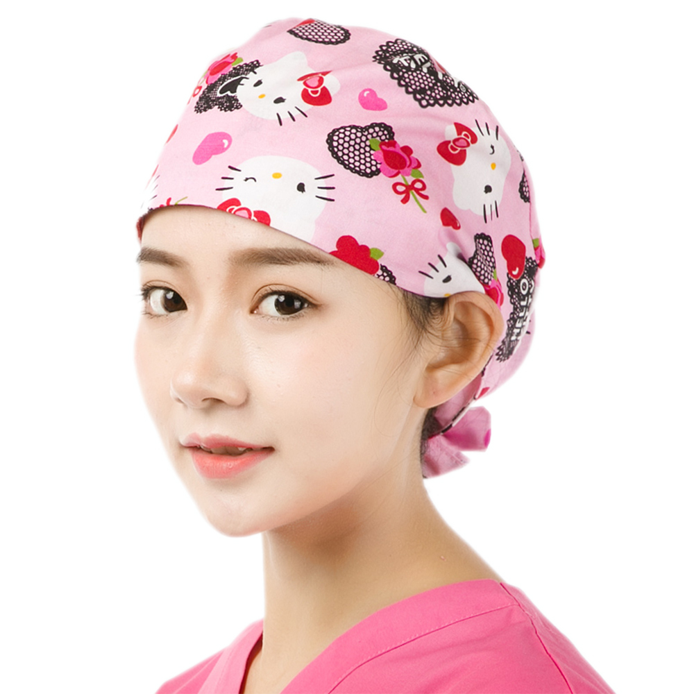 Cute Cat Pink Print Women Medical Cap Surgical Scrub Hat Veterinary Surgeon Hats Tieback 100% Cotton With Sweatband Dentist Caps
