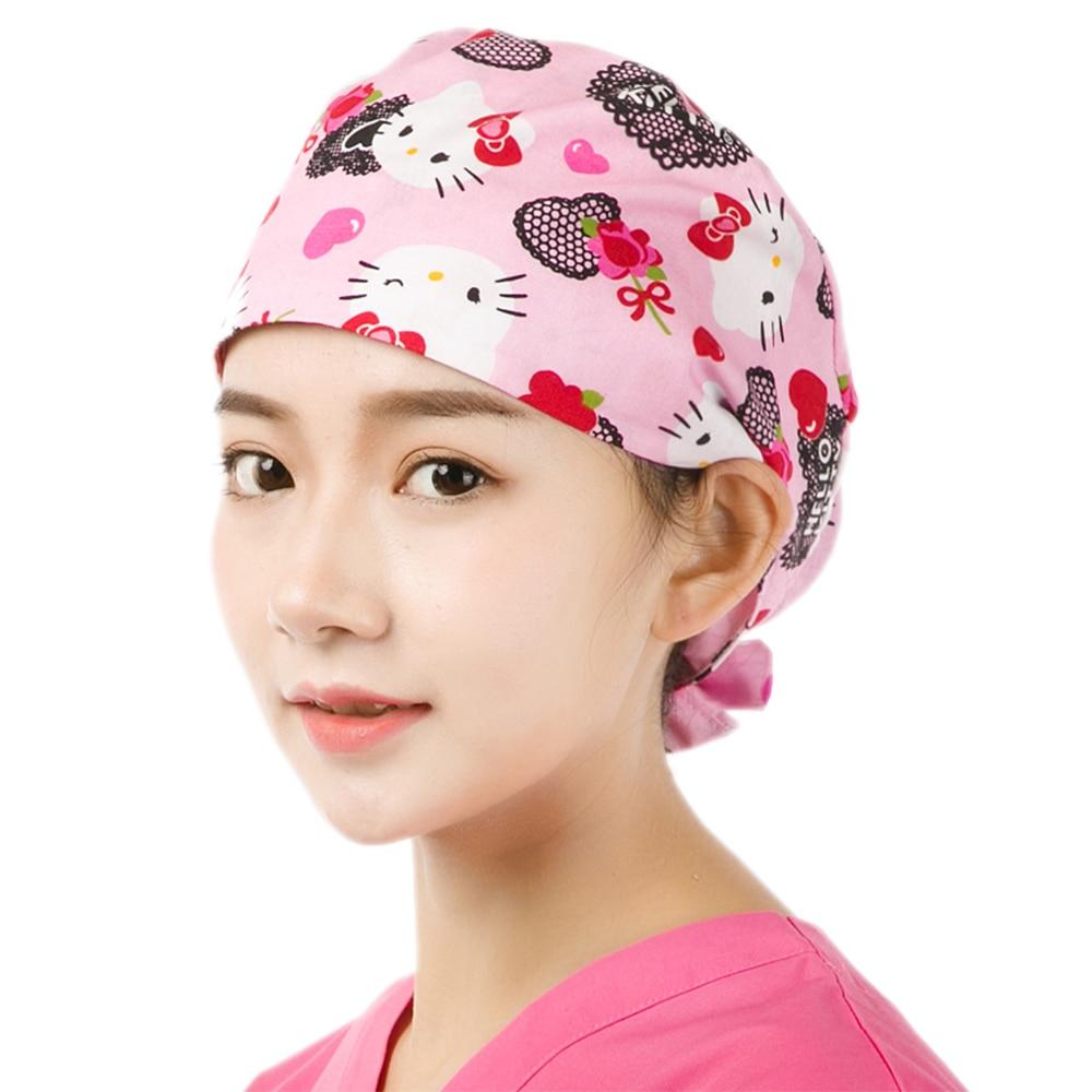 Cute Cat Pink Print Women Medical Cap Surgical Scrub Hat Veterinary Surgeon Hats Tieback 100% Cotton With Sweatband Dentist Caps