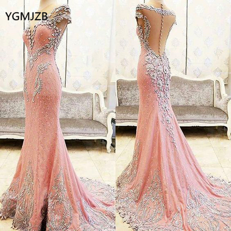 Luxury Long Evening Dress Mermaid 2018 Embroidery Beaded Crystal Backless African Women Pink Formal Evening Gown Robe De Soiree
